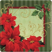 "Amscan Vintage Poinsettia Square Paper Plate, 10"" x 10"", 3/Pack, 18 Per Pack (729543)"