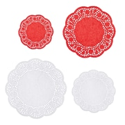 Amscan Doilies, Red/White, 4/Pack, 40 Per Pack (140107)