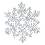 "Amscan Glitter Snowflake Decoration, Silver, Plastic, 6.5"", 7/Pack (190894)"