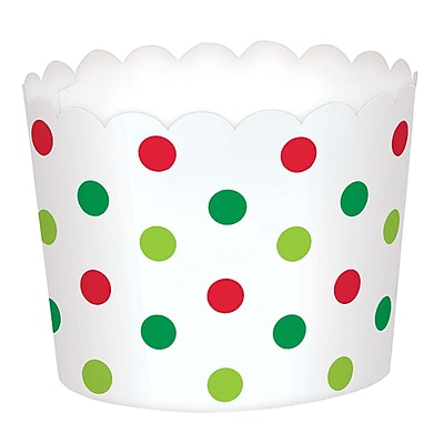"""""Amscan Mini Polka Dot Christmas Scalloped Cups, Paper, 1.75"""""""" x 2.375"""""""" x 2.375"""""""", 3/Pack, 36 Per Pack (400127)"""""" 2536843"
