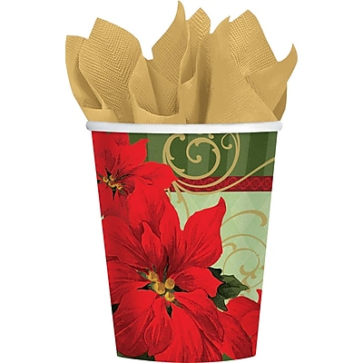 Amscan Vintage Poinsettia Paper Cup, 9oz, 3/Pack, 18 Per Pack (739543) 2536857