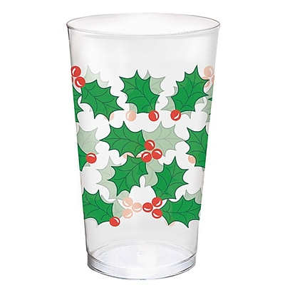 Amscan Holly Plastic Tumblers, 16oz (580011) 2536837