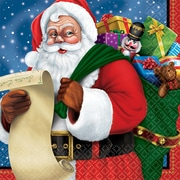 "Amscan Classic Santa Beverage Napkin, 5"" x 5"" (701697)"