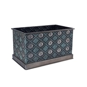Household Essentials Chelsea Metal Storage Box, Large, Green and Silver (9706-1)