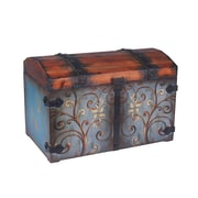 Household Essentials Large Domed Vintage Storage Chest, Sandalwood and Vintage Blue (9502-1)
