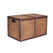 Household Essentials Seagrass Poplar Wicker Storage Chest, Large, Brown Stained (ML-5695)