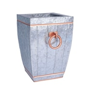 Household Essentials Square Galvanized Metal Accent Vase, 12.125-inch, Grey and rose gold (9760-1)
