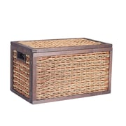 Household Essentials Seagrass Poplar Wicker Storage Chest, Small, Brown Stained (ML-5690)