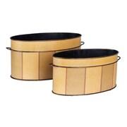 Household Essentials Oval Vintage Metal Storage Bin Set, 2 Piece Set, Yellow (9700-1)
