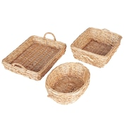 Household Essentials Spring Bird Nest Willow Basket Set, 3 Piece Set, Natural (ML-2240)
