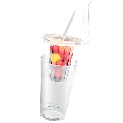Mind Reader ' Zest' 24 oz disposable cups with fruit infuser, lid, Straw , 18 pack 2529789