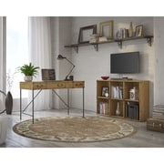 kathy ireland® Office by Bush Furniture Ironworks 48W Writing Desk and 6 Cube Bookcase, Vintage Golden Pine (IW002VG)