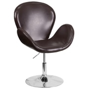 HERCULES Trestron Series Brown Leather Reception Chair with Adjustable Height Seat (CH-112420-BRN-GG)