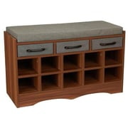 Household Essentials Entryway Shoe Storage Bench, Honey Maple (8024-1)