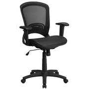Mid-Back Black Mesh Executive Swivel Office Chair with Mesh Seat and Back and Height Adjustable Arms (HL-0007T-GG)
