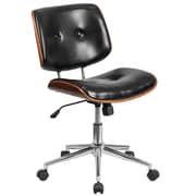 Mid-Back Black Leather Ergonomic Wood Swivel Task Chair (SD-2658-5-GG)