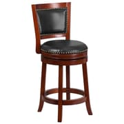 26'' High Dark Cherry Wood Counter Height Stool with Walnut Leather Swivel Seat (TA-355526-DC-CTR-GG)