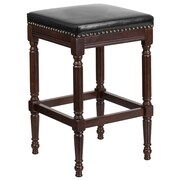 30'' High Backless Cappuccino Wood Barstool with Black Leather Seat (TA-4102A-30-CA-GG)