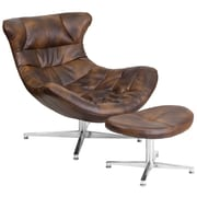Bomber Jacket Leather Cocoon Chair with Ottoman (ZB-43-COCOON-GG)