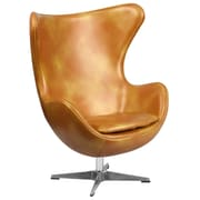 Gold Leather Egg Chair with Tilt-Lock Mechanism (ZB-24-GG)