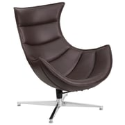 Brown Leather Swivel Cocoon Chair (ZB-33-GG)