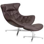 Brown Leather Cocoon Chair with Ottoman (ZB-42-COCOON-GG)