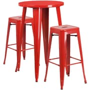 24'' Round Red Metal Indoor-Outdoor Bar Table Set with 2 Square Seat Backless Barstools (CH-51080BH-2-30SQST-RED-GG)