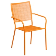Orange Indoor-Outdoor Steel Patio Arm Chair with Square Back (CO-2-OR-GG)