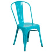 Crystal Teal-Blue Metal Indoor-Outdoor Stackable Chair (ET-3534-CB-GG)