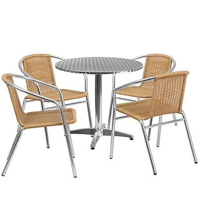 31.5'' Round Aluminum Indoor-Outdoor Table with 4 Beige Rattan Chairs (TLH-ALUM-32RD-020BGECHR4-GG) 2548231