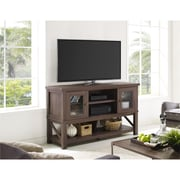"Altra Everett TV Stand for TVs up to 70"" with Glass Doors, Medium Oak (1785196COM)"