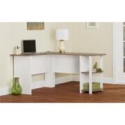 Altra Dakota L-Shaped Desk with Bookshelves, White/Sonoma Oak (9354015PCOM)