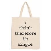Retrospect Group Natural Canvas I think therefore i'm single. Tote Bag 16.5 x 14.57 x 4.33 (RETV093)
