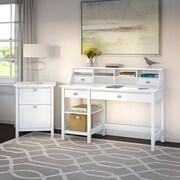 Bush Furniture Broadview Computer Desk with Open Storage, Organizer and File Cabinet, Pure White (BD003WH)