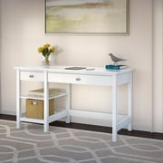 Bush Furniture Broadview Computer Desk with Open Storage, Pure White (BDD154WH-03)