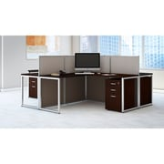 Bush Business Furniture Easy Office 60W 4 Person L Shaped Desk Open Office w/ 3 Dwr Mobile Peds, Mocha Cherry (EOD760SMR-03KFA)