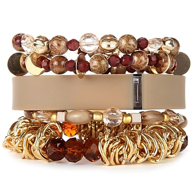 Fit Fab Natural Stack Bracelet Set Brown Neutral Tan Gold