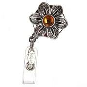 BooJee Vintage Flower Badge Reel, Silver, Orange