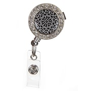 ID Avenue Scroll Badge Reel, Silver, Black