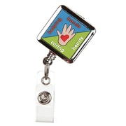 ID Avenue Helping Hands Badge Reel, Blue, Green, Silver