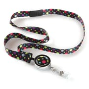 ID Avenue Polka Ribbon Lanyard, Black, Red, Green, Blue, Purple