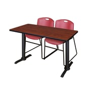 """Regency Cain 42"""" x 24"""" Training Table- Cherry and 2 Zeng Stack Chairs- Burgundy (MTRCT4224CH44BY)"""
