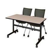 "Regency Kobe 48"" Flip Top Mobile Training Table- Beige and 2 Apprentice Chairs- Black (MKFT4824BE09BK)"