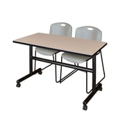 "Regency Kobe 48"" Flip Top Mobile Training Table- Beige and 2 Zeng Stack Chairs- Grey (MKFT4824BE44GY)"