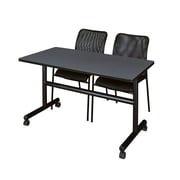 """Regency Kobe 48"""" Flip Top Mobile Training Table- Grey and 2 Mario Stack Chairs- Black (MKFT4824GY75BK)"""