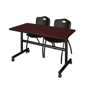 "Regency Kobe 48"" Flip Top Mobile Training Table- Mahogany and 2 'M' Stack Chairs- Black (MKFT4824MH47BK)"