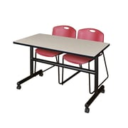 "Regency Kobe 48"" Flip Top Mobile Training Table- Maple and 2 Zeng Stack Chairs- Burgundy (MKFT4824PL44BY)"