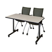 "Regency Kobe 42"" x 24"" Mobile Training Table- Maple and 2 Apprentice Chairs- Black  (MKTRCC42PL09BK)"