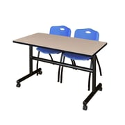 "Regency Kobe 48"" Flip Top Mobile Training Table- Beige and 2 'M' Stack Chairs- Blue (MKFT4824BE47BE)"