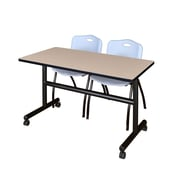 "Regency Kobe 48"" Flip Top Mobile Training Table- Beige and 2 'M' Stack Chairs- Grey (MKFT4824BE47GY)"